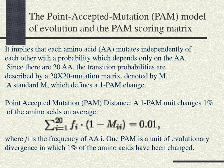 The Point-Accepted-Mutation (PAM) model of evolution and the PAM scoring matrix