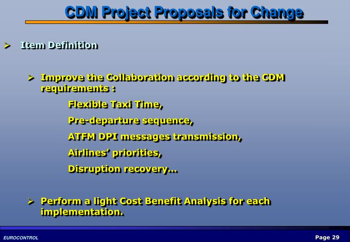 CDM Project Proposals for Change