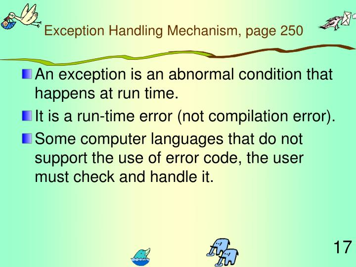 Exception Handling Mechanism, page 250
