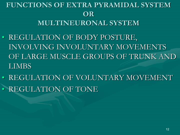 FUNCTIONS OF EXTRA PYRAMIDAL SYSTEM