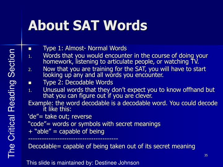 About SAT Words