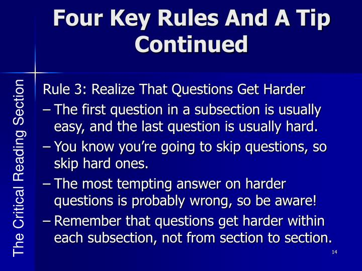 Four Key Rules And A Tip Continued