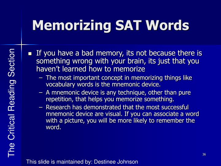 Memorizing SAT Words