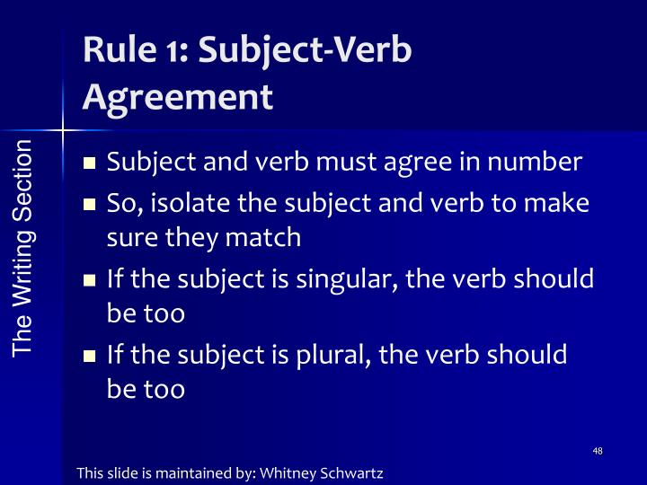 Rule 1: Subject-Verb Agreement