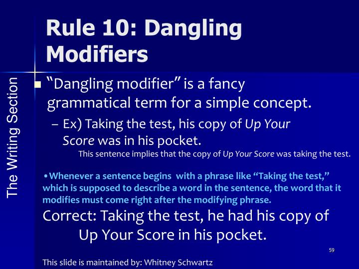 Rule 10: Dangling Modifiers