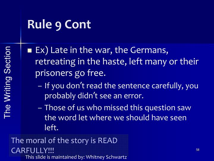 Rule 9 Cont