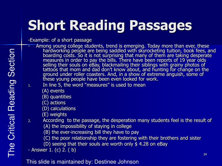Short Reading Passages