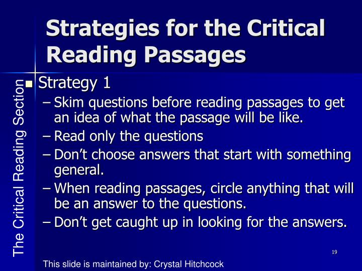 Strategies for the Critical Reading Passages