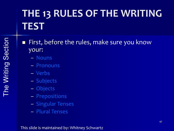 THE 13 RULES OF THE WRITING TEST