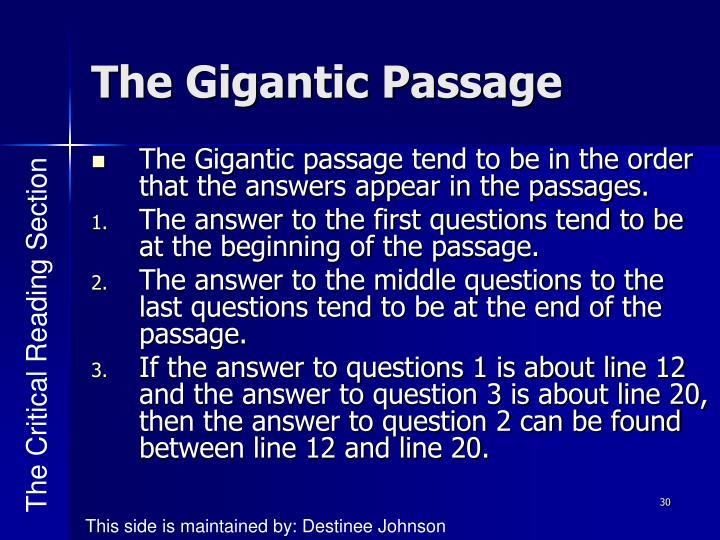The Gigantic Passage