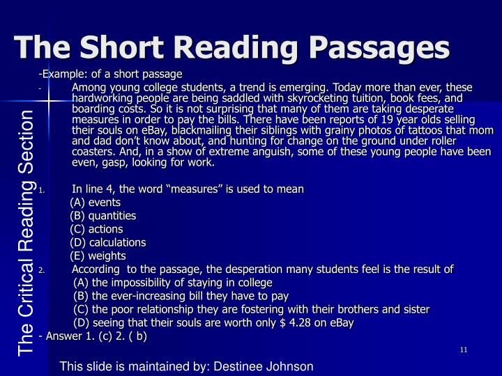The Short Reading Passages