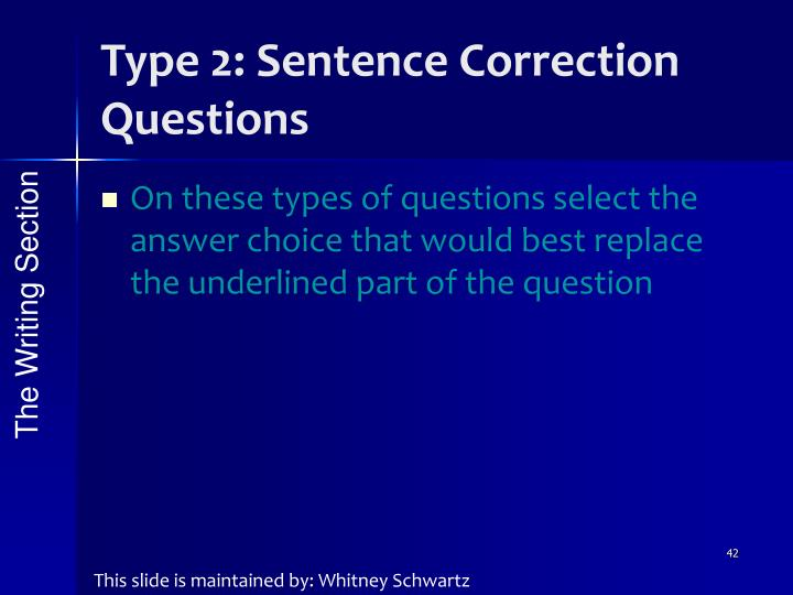 Type 2: Sentence Correction Questions