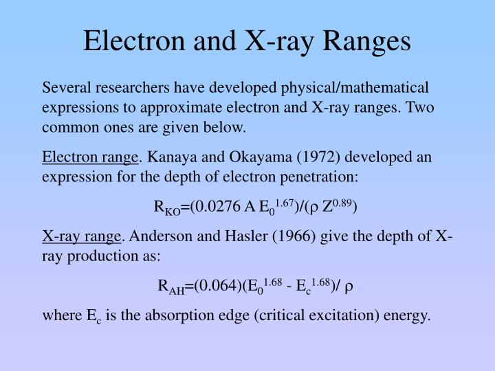 Electron and X-ray Ranges