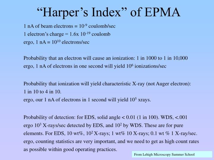 """""""Harper's Index"""" of EPMA"""
