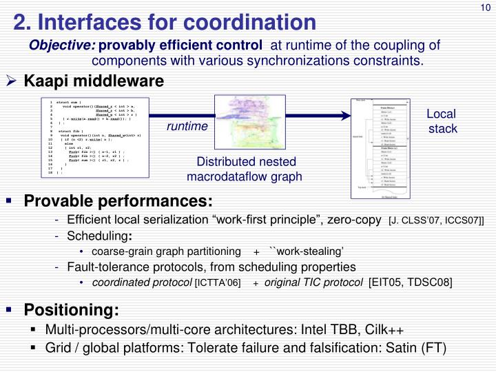 2. Interfaces for coordination