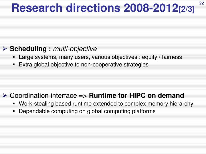 Research directions 2008-2012