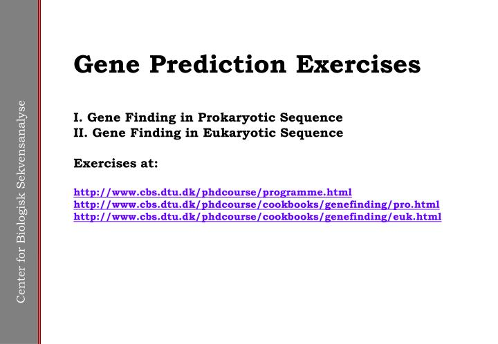 Gene Prediction Exercises