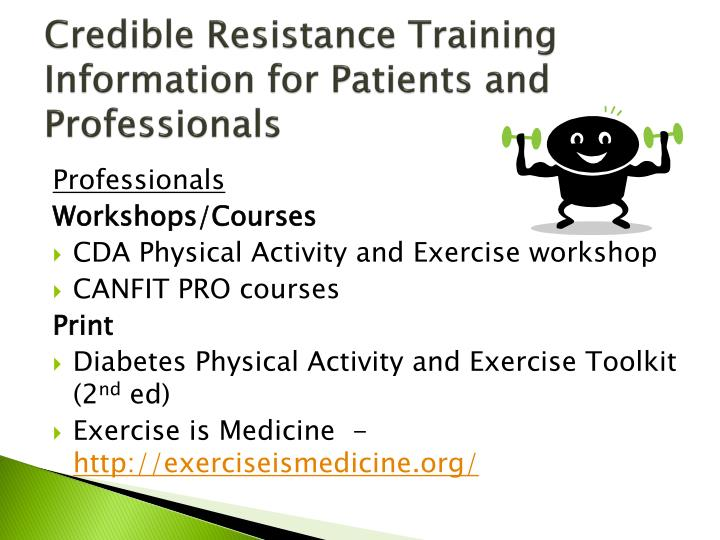 Credible Resistance Training Information for Patients and Professionals