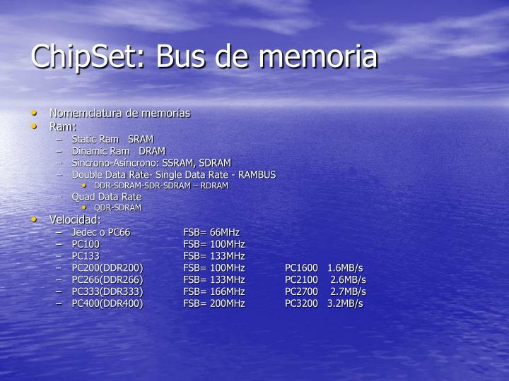 ChipSet: Bus de memoria