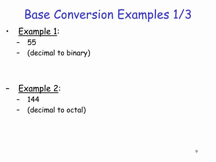 Base Conversion Examples 1/3