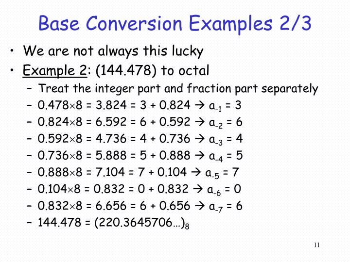Base Conversion Examples 2/3