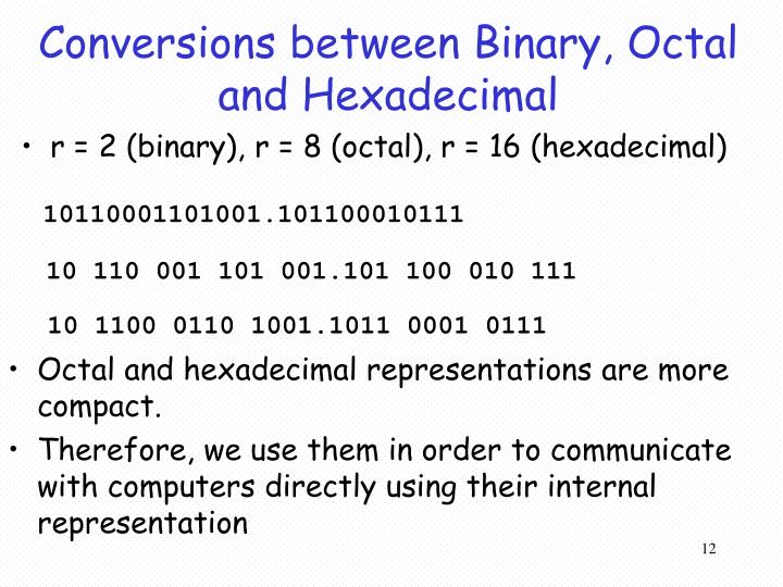 Conversions between Binary, Octal and Hexadecimal