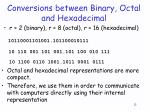 conversions between binary octal and hexadecimal