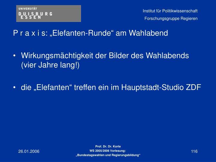 "P r a x i s: ""Elefanten-Runde"" am Wahlabend"