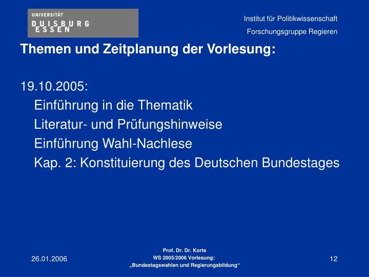 Themen und Zeitplanung der Vorlesung:
