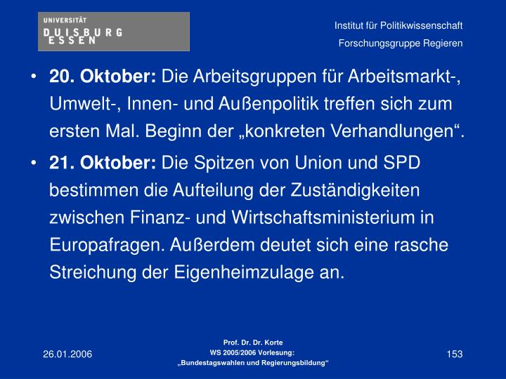 20. Oktober: