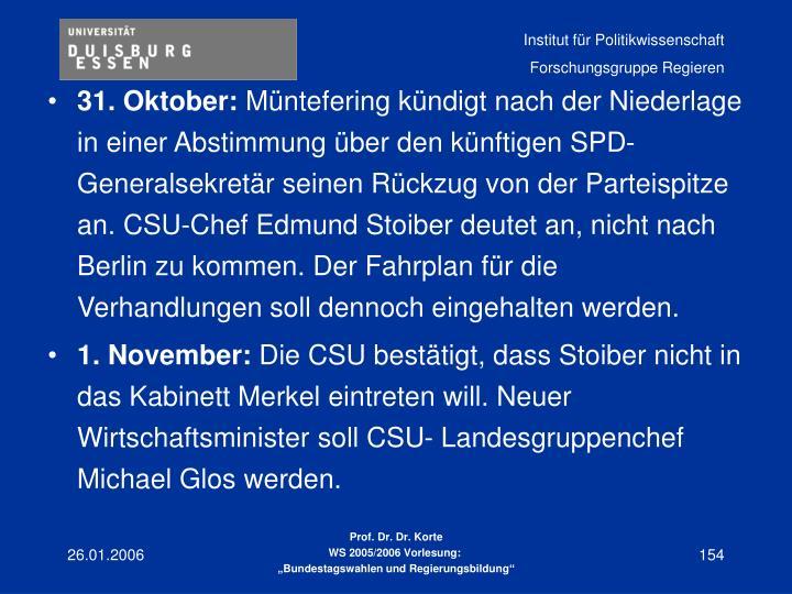 31. Oktober: