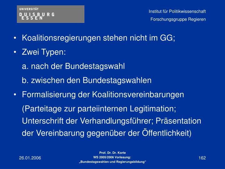 Koalitionsregierungen stehen nicht im GG;