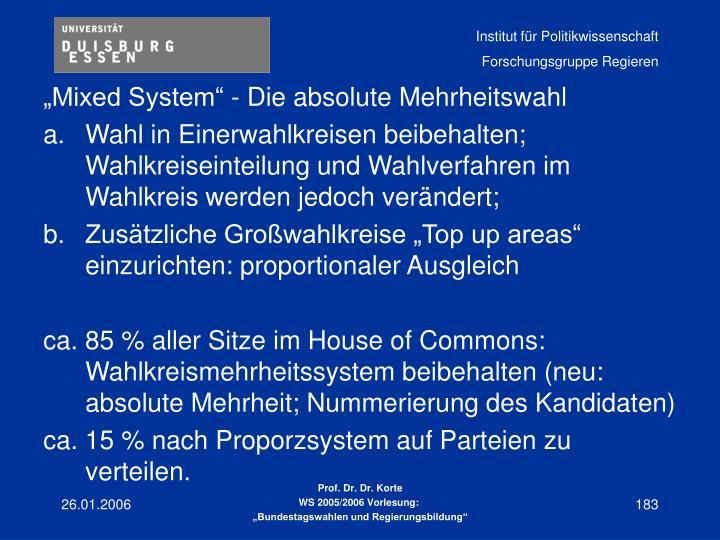 """""""Mixed System"""" - Die absolute Mehrheitswahl"""