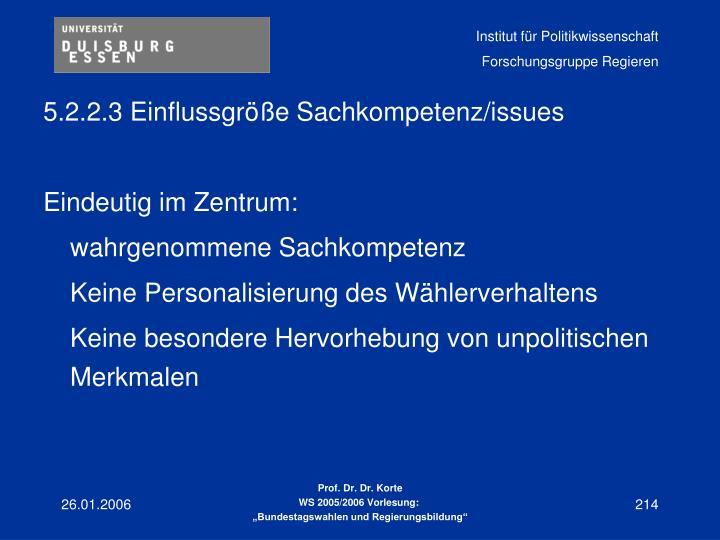 5.2.2.3 Einflussgröße Sachkompetenz/issues
