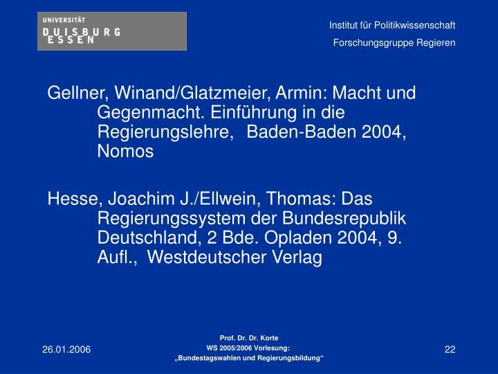 Gellner, Winand/Glatzmeier, Armin: Macht und Gegenmacht. Einführung in die Regierungslehre, Baden-Baden 2004, Nomos