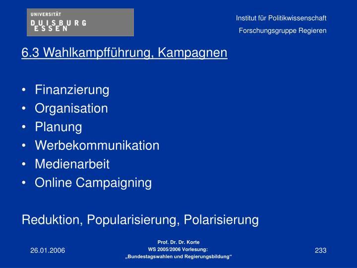 6.3 Wahlkampfführung, Kampagnen