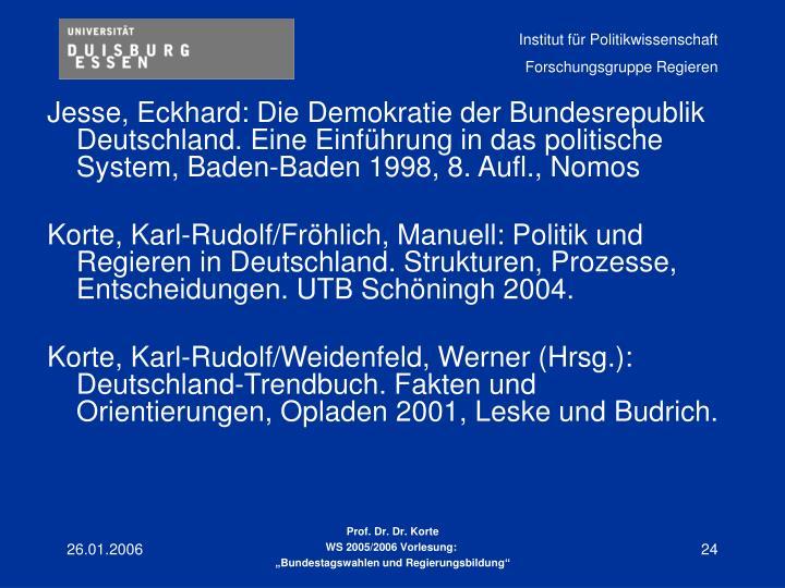 Jesse, Eckhard: Die Demokratie der Bundesrepublik Deutschland. Eine Einführung in das politische System, Baden-Baden 1998, 8. Aufl., Nomos
