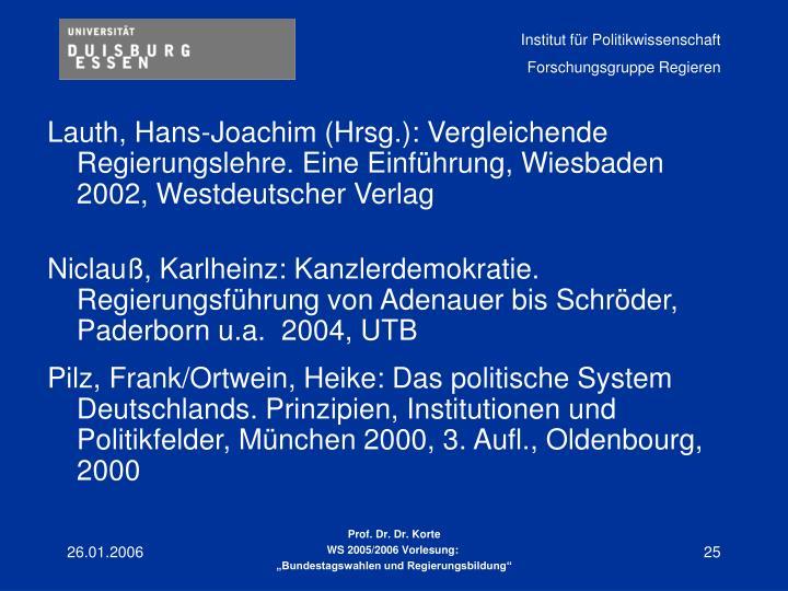 Lauth, Hans-Joachim (Hrsg.): Vergleichende Regierungslehre. Eine Einführung, Wiesbaden 2002, Westdeutscher Verlag
