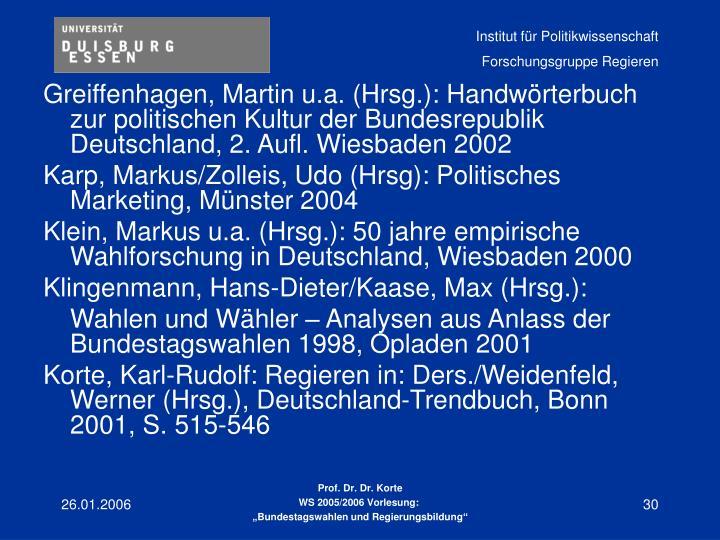 Greiffenhagen, Martin u.a. (Hrsg.): Handwörterbuch zur politischen Kultur der Bundesrepublik Deutschland, 2. Aufl. Wiesbaden 2002