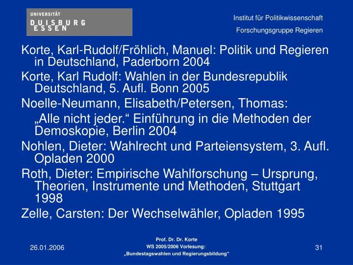 Korte, Karl-Rudolf/Fröhlich, Manuel: Politik und Regieren in Deutschland, Paderborn 2004