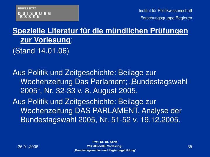 Spezielle Literatur für die mündlichen Prüfungen zur Vorlesung