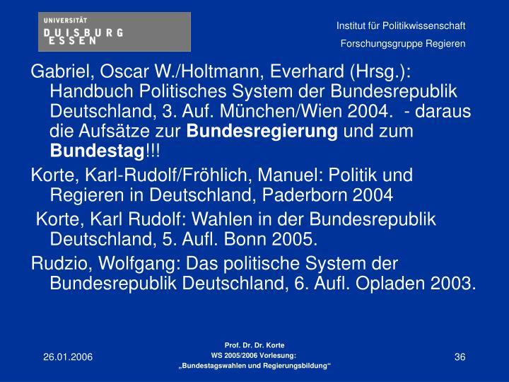 Gabriel, Oscar W./Holtmann, Everhard (Hrsg.): Handbuch Politisches System der Bundesrepublik Deutschland, 3. Auf. München/Wien 2004.  - daraus die Aufsätze zur
