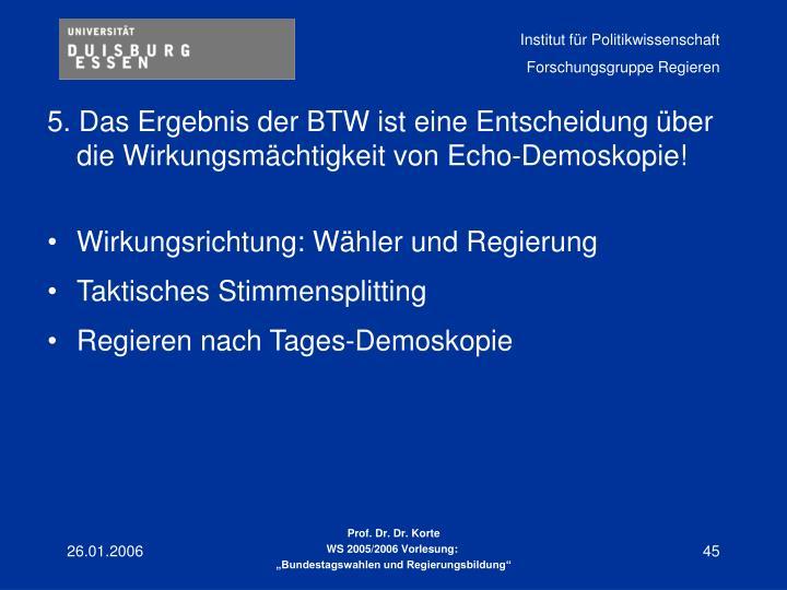 5. Das Ergebnis der BTW ist eine Entscheidung über die Wirkungsmächtigkeit von Echo-Demoskopie!