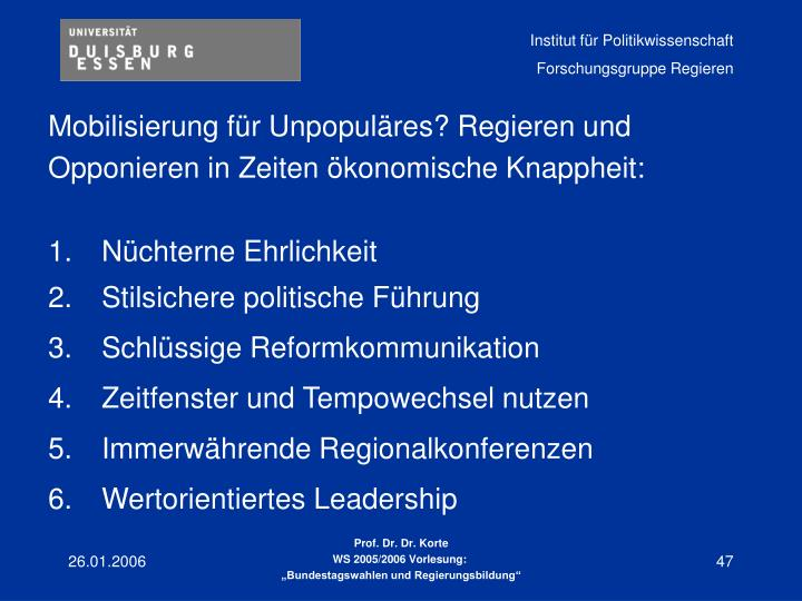 Mobilisierung für Unpopuläres? Regieren und