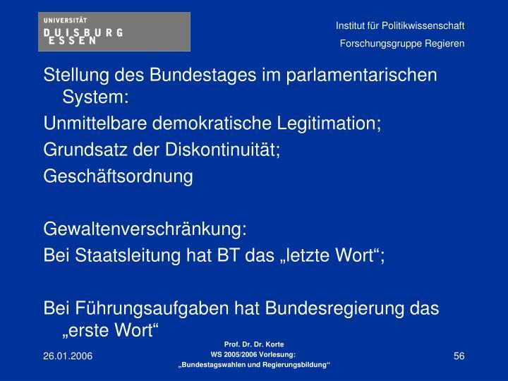 Stellung des Bundestages im parlamentarischen System: