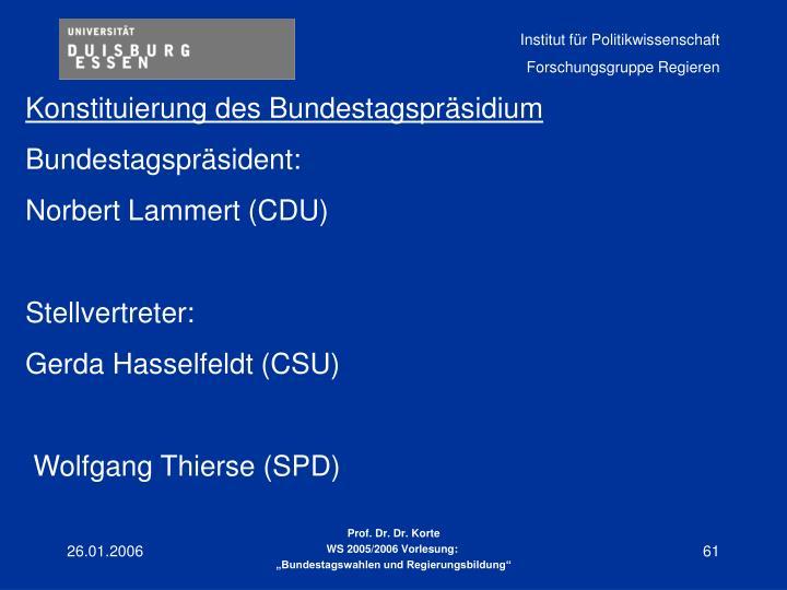 Konstituierung des Bundestagspräsidium