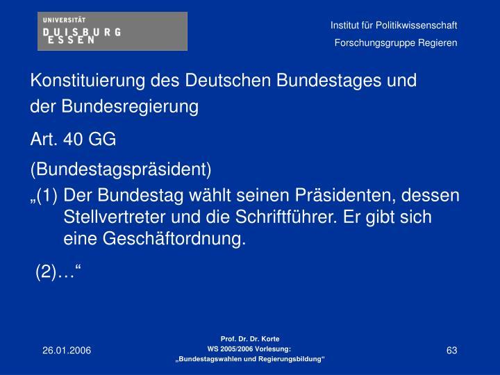 Konstituierung des Deutschen Bundestages und