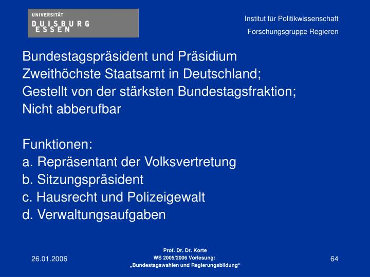 Bundestagspräsident und Präsidium