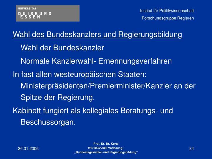 Wahl des Bundeskanzlers und Regierungsbildung