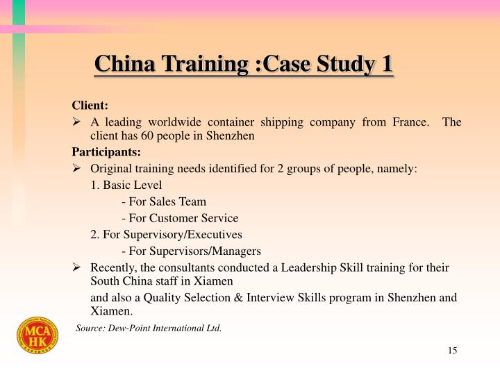China Training :Case Study 1